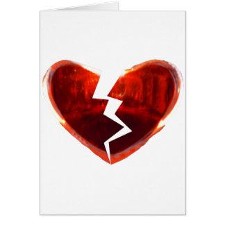 Corazón rojo quebrado tarjeta de felicitación