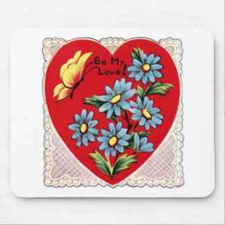 Corazón rojo retro romántico del amor del el día d tapetes de raton