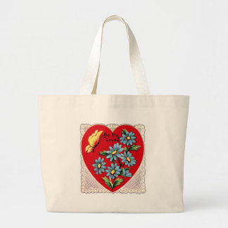 Corazón rojo retro romántico del amor del el día d bolsas