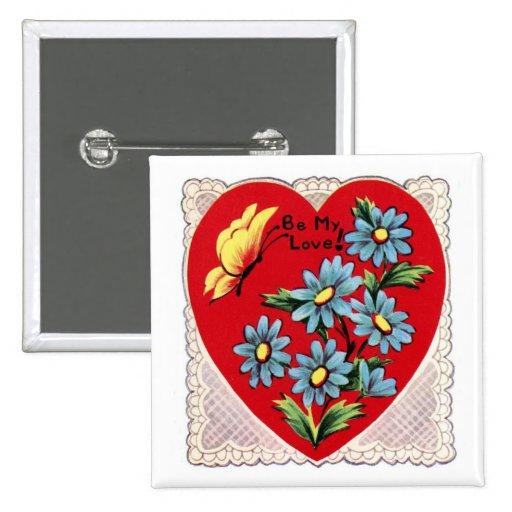 Corazón rojo retro romántico del amor del el día d pins