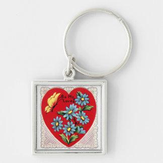Corazón rojo retro romántico del amor del el día d llavero personalizado