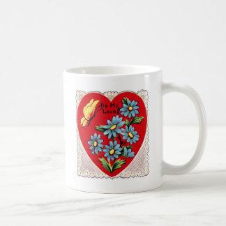 Corazón rojo retro romántico del amor del el día d taza de café