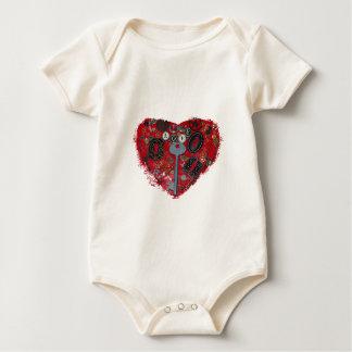 Corazón rojo Steampunk Body Para Bebé