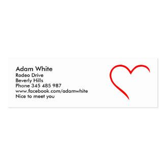 Corazón rojo plantilla de tarjeta de negocio