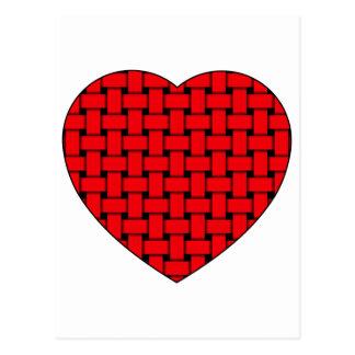 Corazón rojo tejido postal