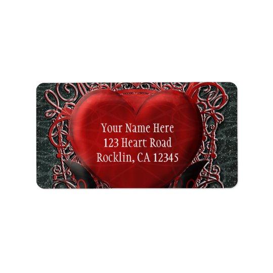 Corazón rojo y banquete de boda gótico de la etiquetas de dirección