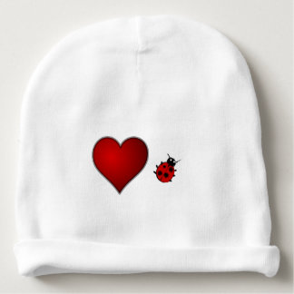 Corazón rojo y mariquita del insecto lindo del gorrito para bebe