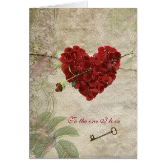 Corazón romántico de la tarjeta del día de San