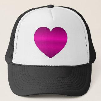 Corazón rosado brillante gorra de camionero