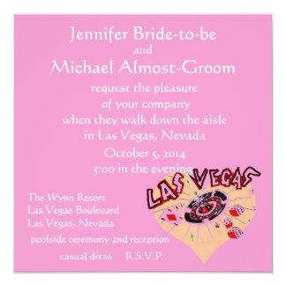 Corazón rosado de los bodas de Las Vegas Invitación 13,3 Cm X 13,3cm