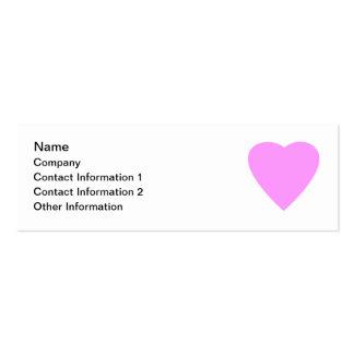 Corazón rosado del amor en blanco tarjetas de visita mini