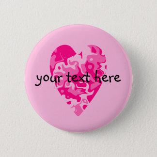 Corazón rosado del día de San Valentín Chapa Redonda De 5 Cm