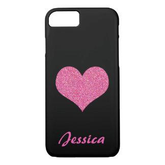 Corazón rosado en nombre femenino personalizado funda iPhone 7