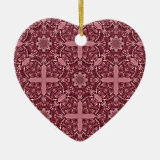 Corazón rosado hermoso del caleidoscopio adorno navideño de cerámica en forma de corazón