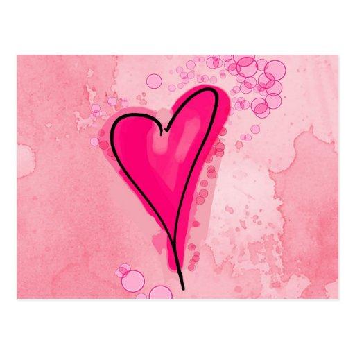 Corazón rosado líquido postal