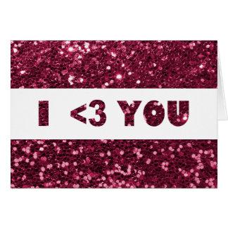 Corazón rosado magenta del brillo I que usted ama Tarjeta De Felicitación