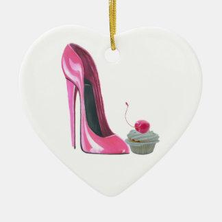 Corazón rosado Orname de la magdalena del zapato y Adorno De Cerámica En Forma De Corazón