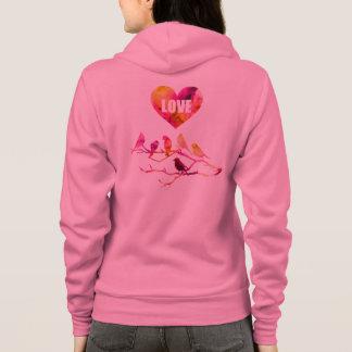 Corazón rosado, pájaros del amor, sudadera
