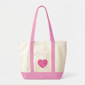 Corazón rosado para siempre bolso de tela