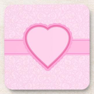 corazón rosado posavasos