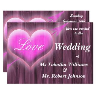 Corazón rosado rústico del amor en la invitación