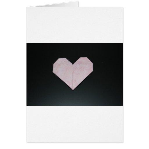 corazón rosado simple del origami tarjeton