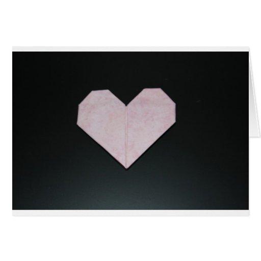 corazón rosado simple del origami tarjetas