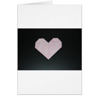corazón rosado simple del origami tarjeta de felicitación