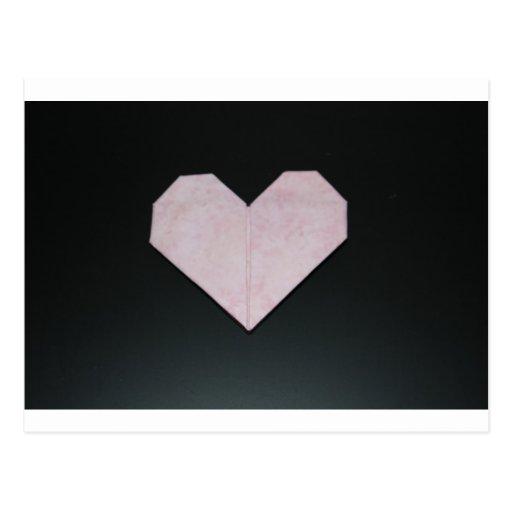 corazón rosado simple del origami tarjetas postales