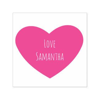 Corazón rosado sólido con el texto personalizado sello automático