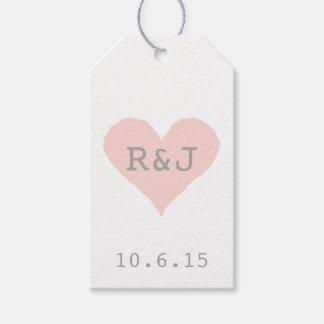 Corazón rosado y gris de encargo etiquetas para regalos