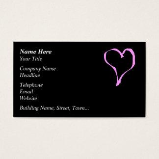 Corazón rosado y negro bonito del amor tarjeta de negocios