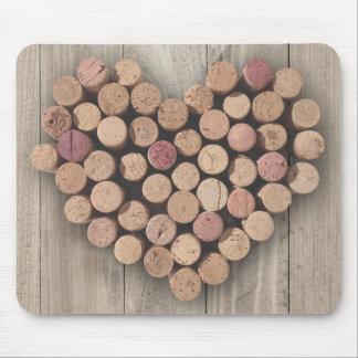 Corazón rústico Mousepad del corcho del vino