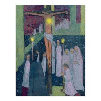 Corazón sagrado crucificado, 1894 postal