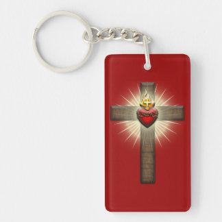 Corazón sagrado de la cruz de Jesús Llavero