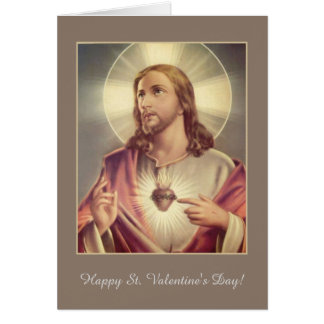 Corazón sagrado de la tarjeta del día de San