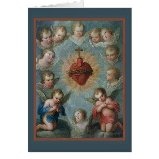 Corazón sagrado de los ángeles de las espinas de tarjeta