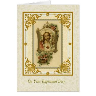 Corazón sagrado del ADULTO del BAUTISMO de Jesús Tarjeta De Felicitación