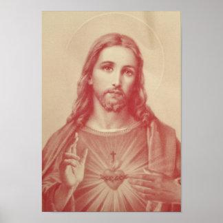 Corazón sagrado del vintage del poster de Jesús Póster