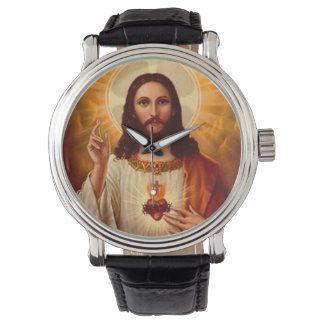 Corazón sagrado religioso hermoso de la imagen de relojes