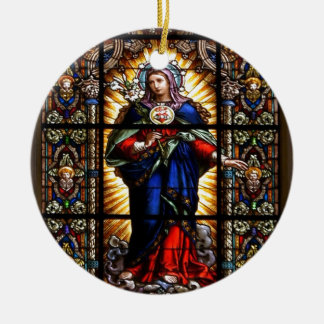 Corazón sagrado religioso hermoso del Virgen María Adorno Redondo De Cerámica