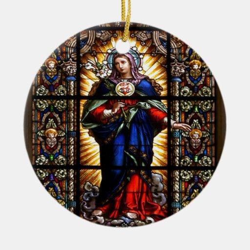 Corazón sagrado religioso hermoso del Virgen María Ornaments Para Arbol De Navidad