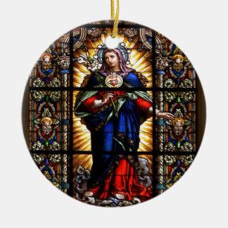 Corazón sagrado religioso hermoso del Virgen María Adorno Navideño Redondo De Cerámica