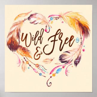 Corazón salvaje y libre del amor de la acuarela de póster