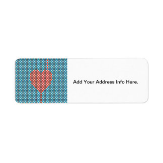 Corazón tejido etiqueta de remite