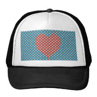 Corazón tejido gorros bordados