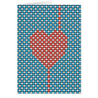 Corazón tejido tarjeta pequeña