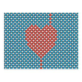 Corazón tejido postal