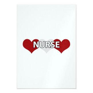 Corazón triple de la enfermera invitaciones personales