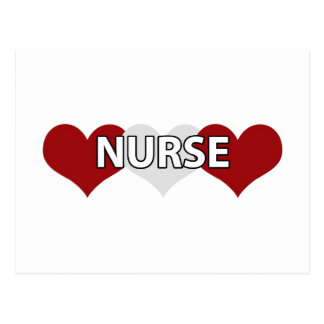 Corazón triple de la enfermera tarjetas postales